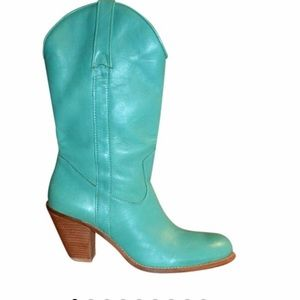 Jessica Simpson Teal Turquoise Leather Boot Sz 6